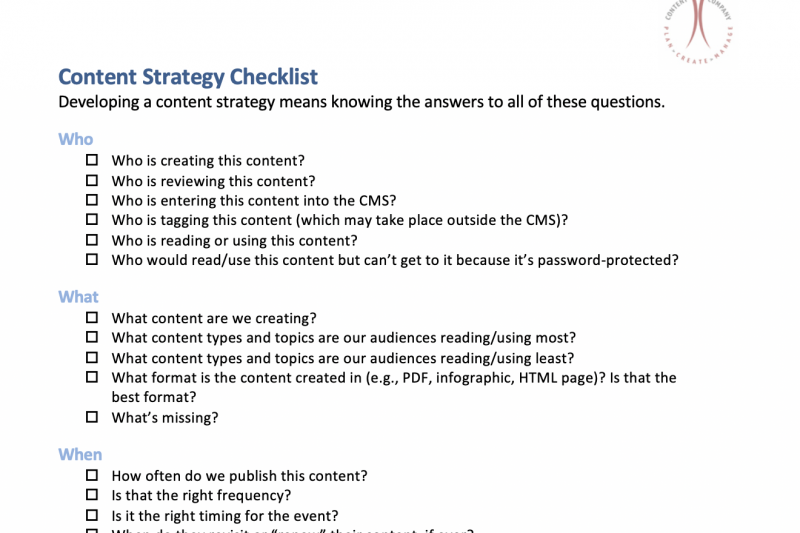 Content Strategy Checklist: Do You Know How Your Organization's Content Works?